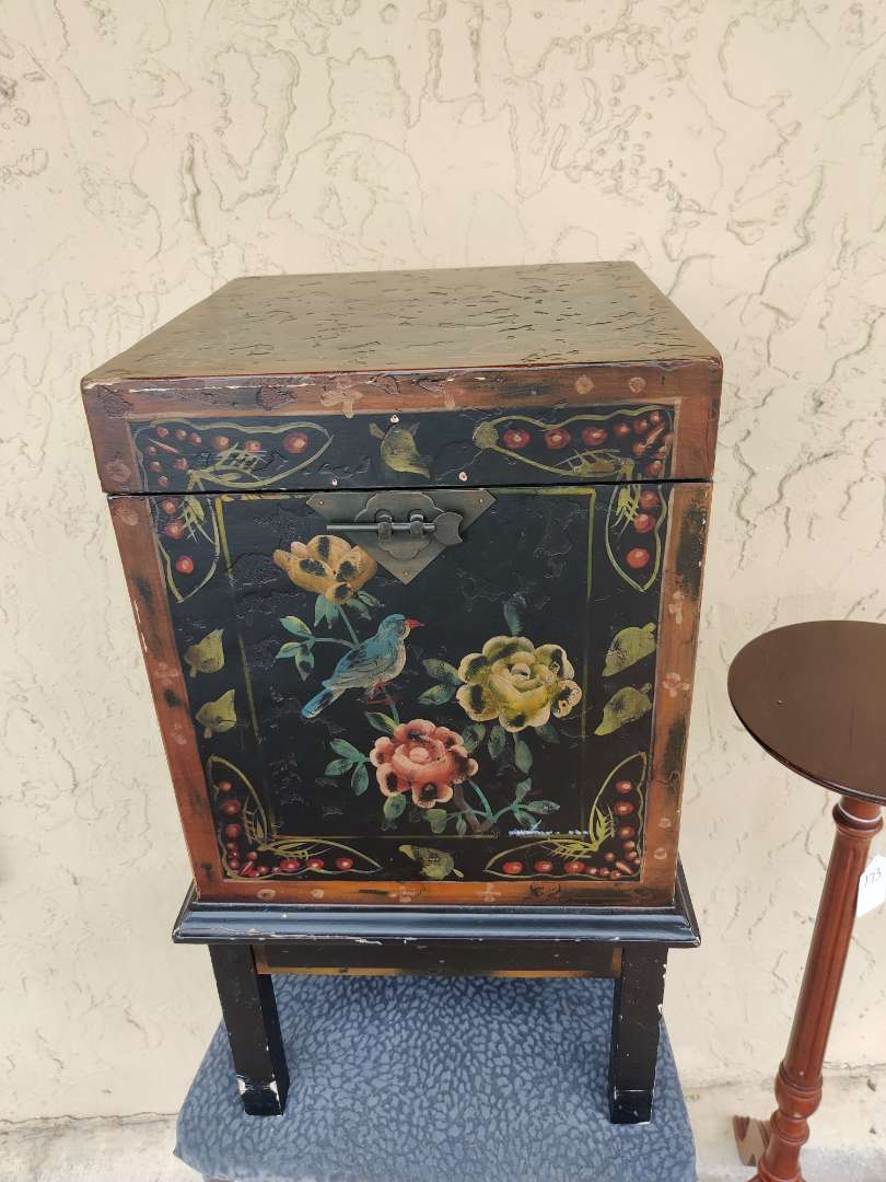 # 178 hand-painted storage chest lift up top 25 inches tall 15 x 15 wide