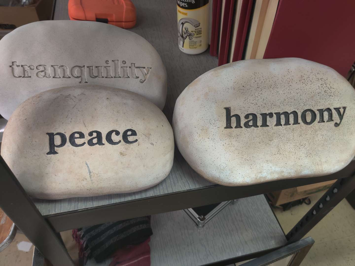 # 181 lot of three inspirational stones for the garden not real Stone