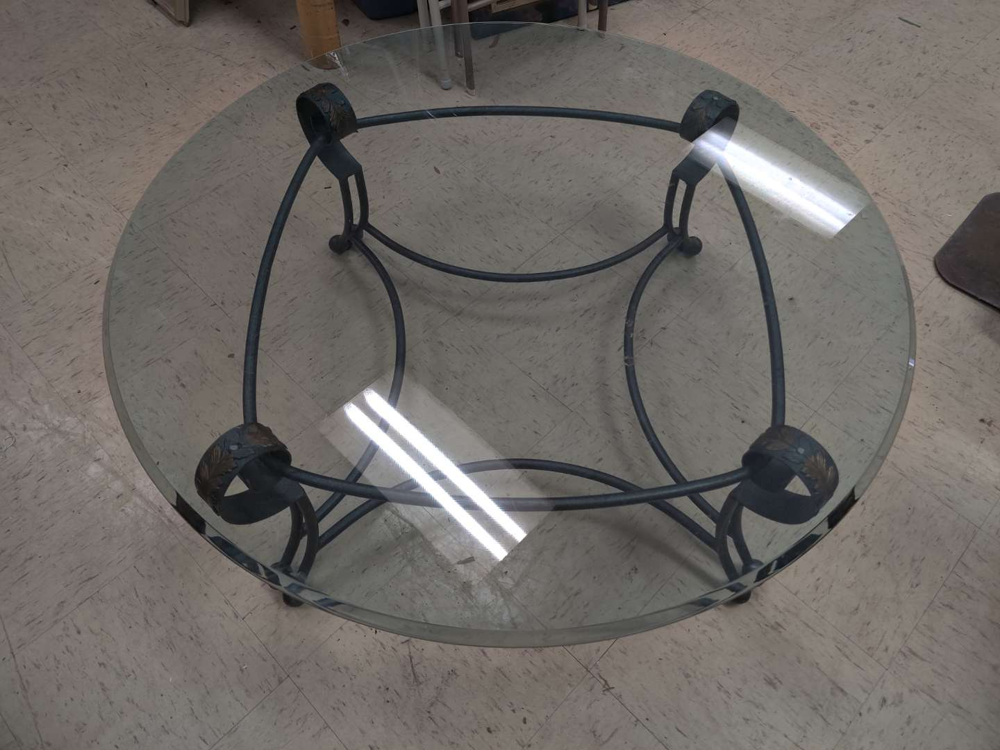 # 183 cocktail table or coffee table glass top iron base 42 in wide glass is 3/4 in thick