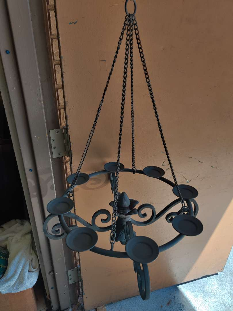 # 185 heavy iron hanging candle chandelier 19 in wide 44 in long with chain
