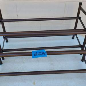Auction Thumbnail for: Lot # 226 Lot of 2 Adjustable Shoe Racks (2ft to 4ft) - Bronze Colored