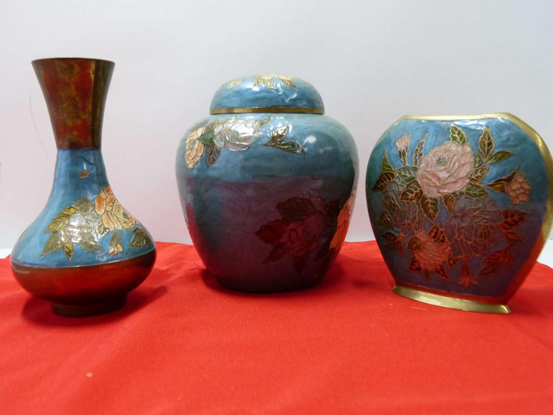 Lot # 104  3 Pce Oriental style enamel brass vessels