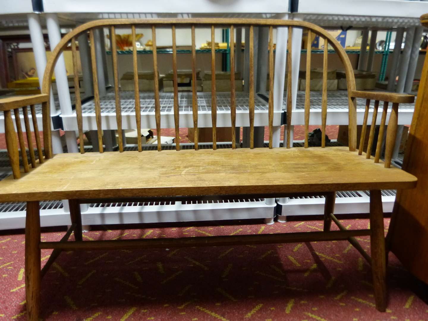 Lot # 7  Solid oak antique spindle bench in original condition (NO NAILS)