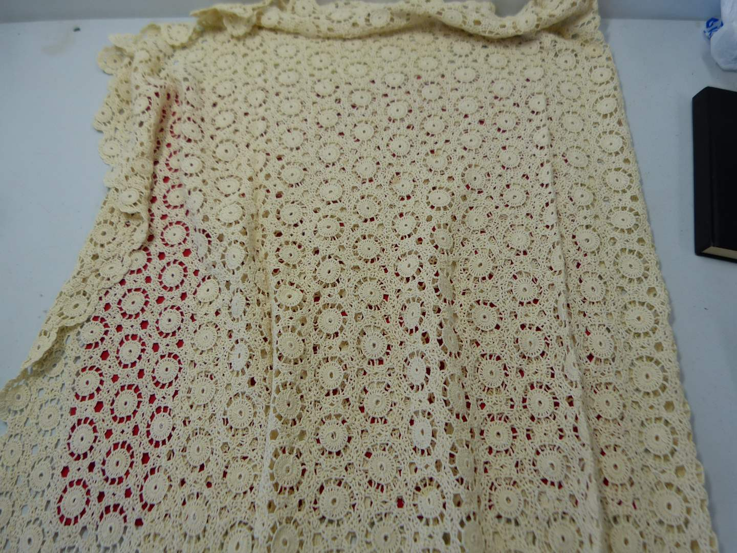 Lot # 209  Vintage needlepoint table cover 52X72 (could use a cleaning) (main image)