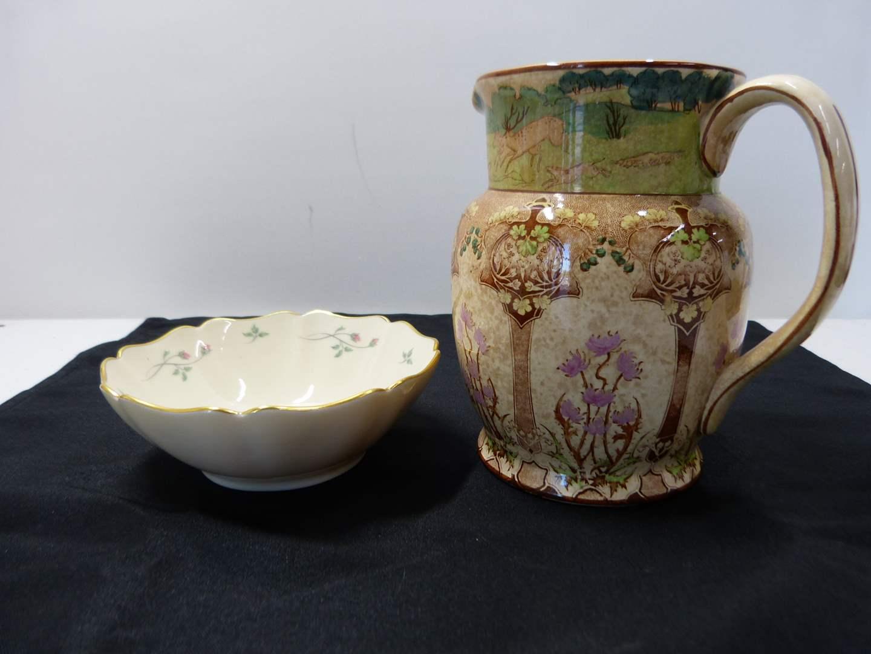 Lot # 227  Antique English creamer (show lots of wear) & Lenox bowl