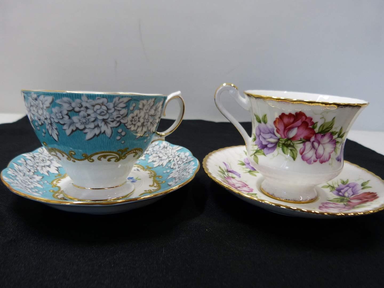 Lot # 228  2 sets England bone china cup & saucer  (main image)