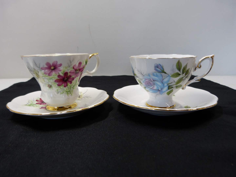 Lot # 229   2 sets England bone china cup & saucer   (main image)