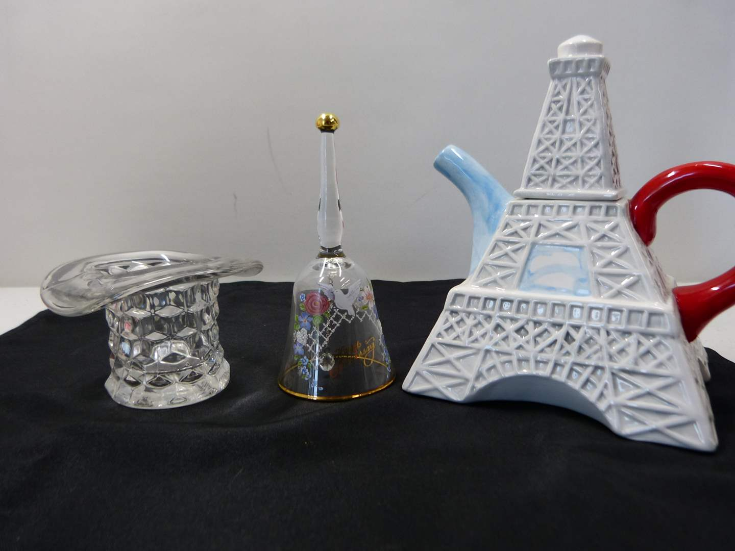 Lot # 230  Lot of collectibles to include toothpick holder crystal bell & teapot (main image)