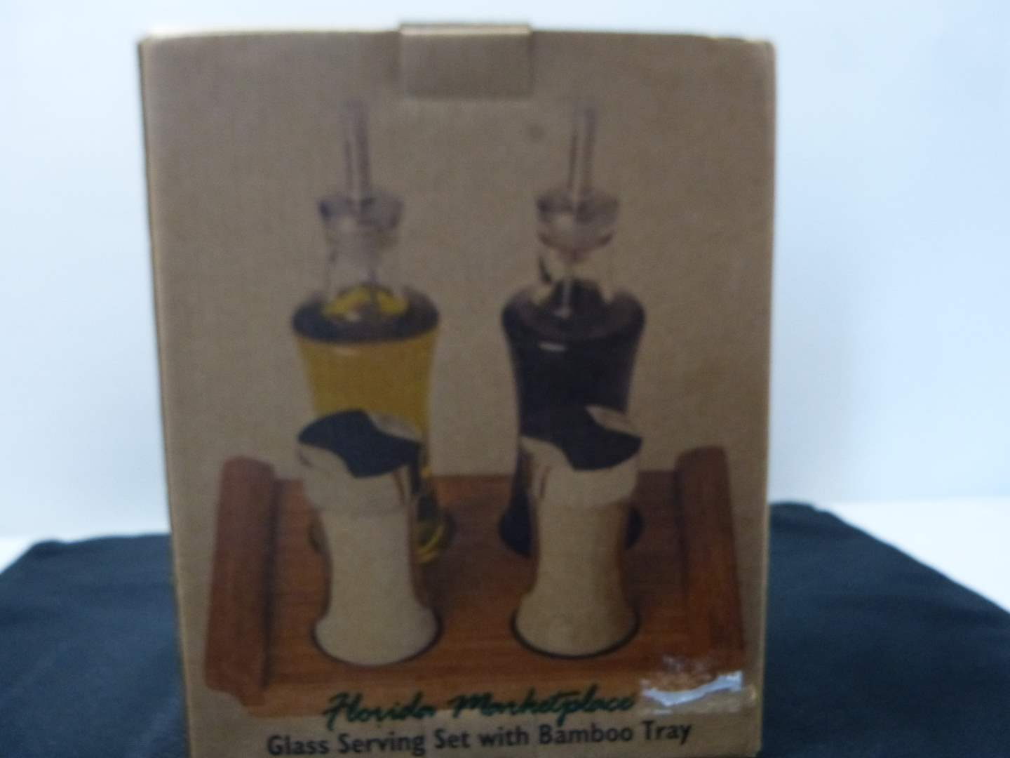 Lot # 232  New never used oil-vinegar salt & pepper with wood holder (main image)