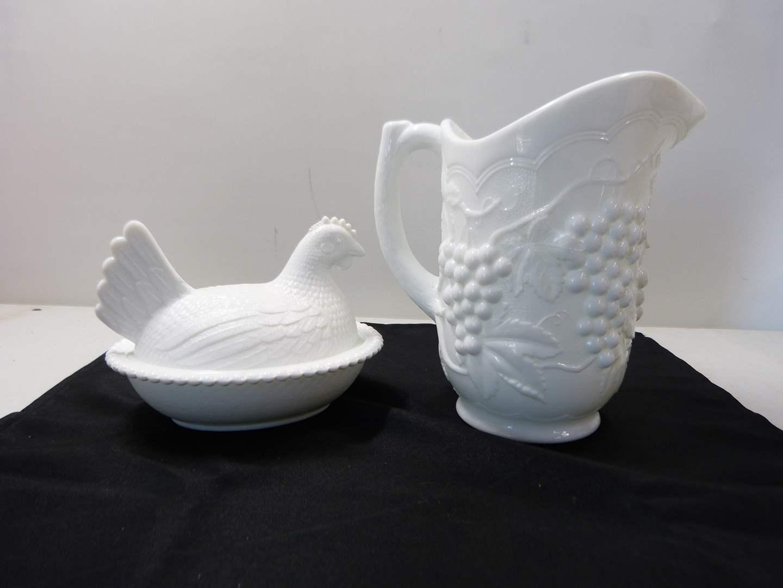 Lot # 233  Westmoreland milk glass nesting hen & grape pattern heavy pitcher