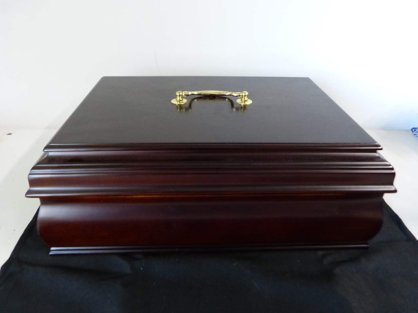 Lot # 234  Like new mahogany jewelry chest (dowble layer W/ keys) its actually a dark ruby color (main image)