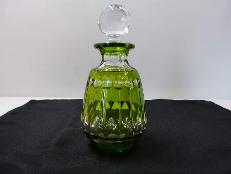 Lot # 236  Beautiful Cut to Clear Bohemian glass cruet w/clear stopper  (main image)