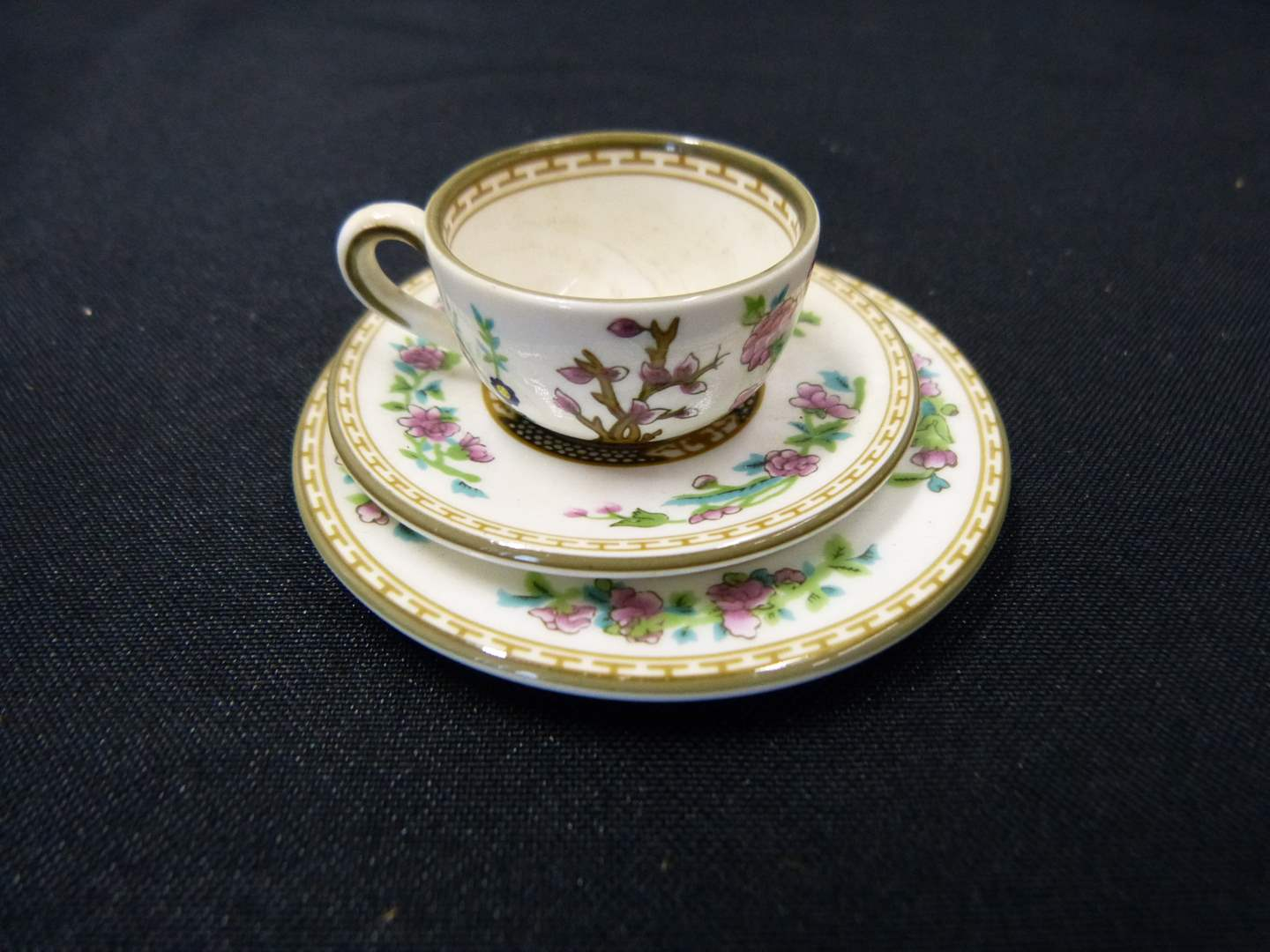 Lot # 237  MINIATURE doll house India Tree Spode cup/saucer/plate (main image)