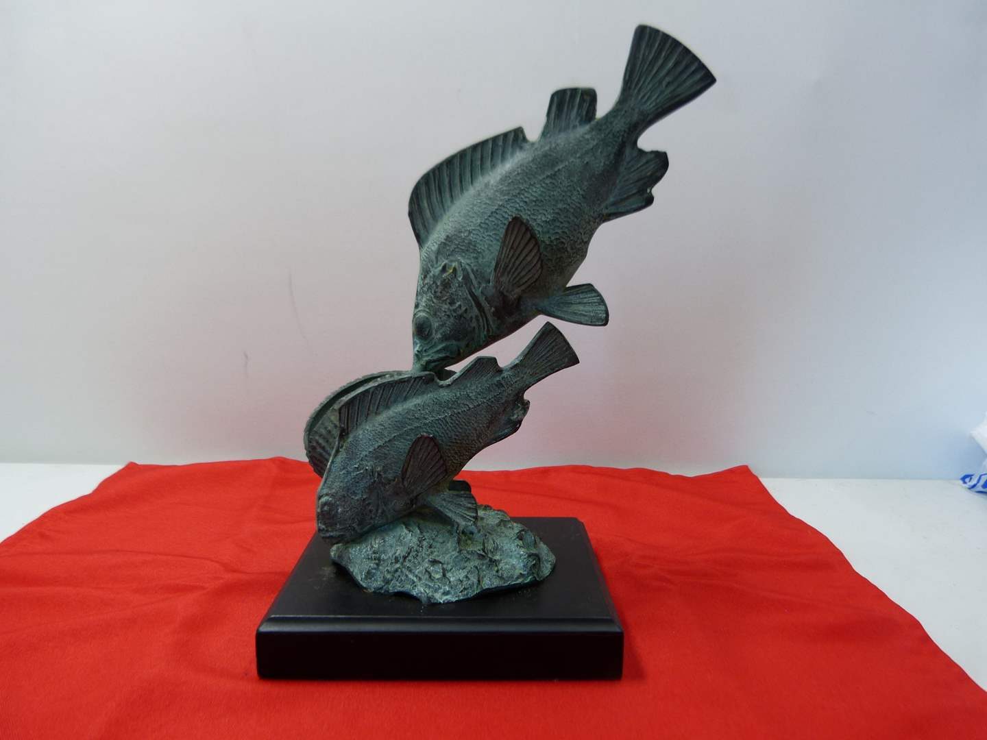 Lot # 238  Nice fish figure in brass? & cold painted heavy