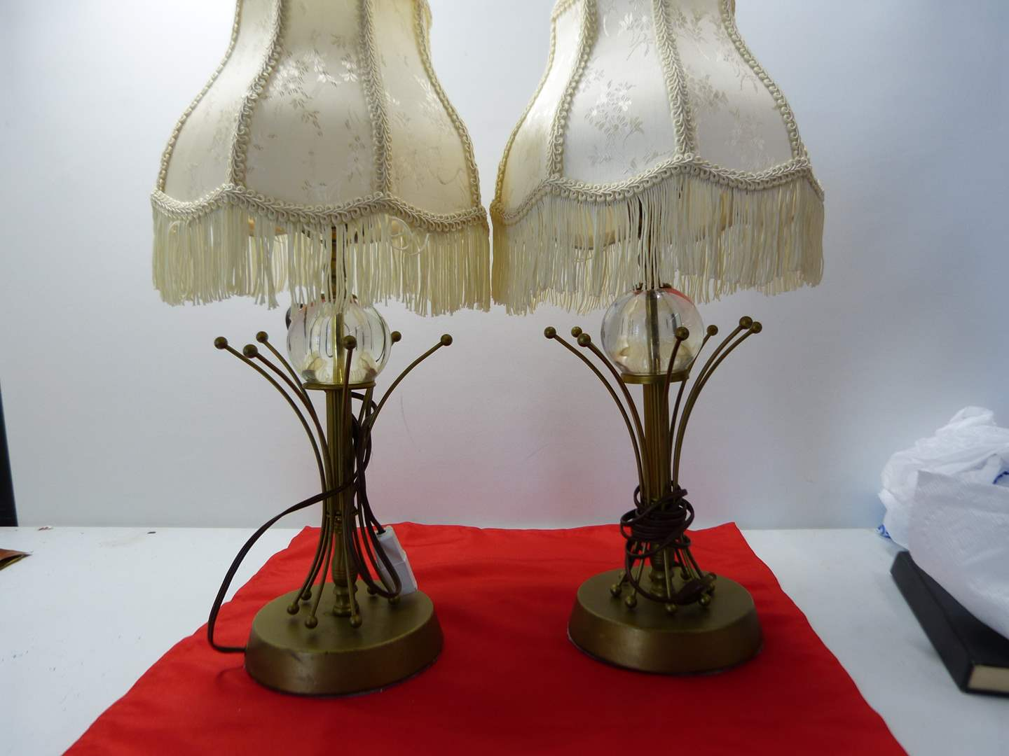 Lot # 241  2 Mid Century Modern lamps w/metal bases