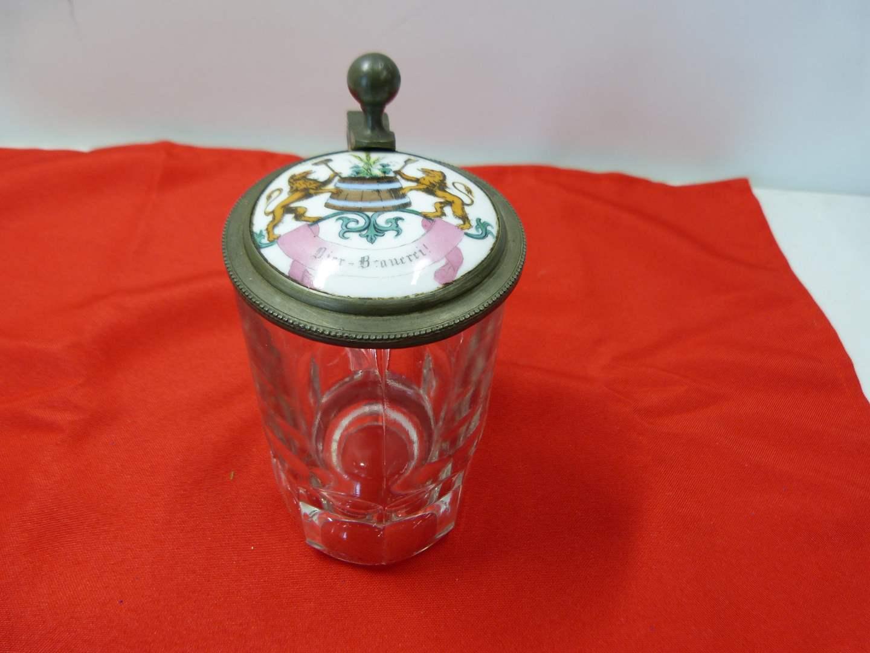 Lot # 242  Great glass & hand painted porcelain antique beer mug (main image)