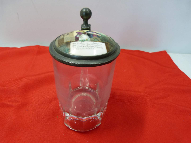 Lot # 243  Great glass & hand painted porcelain antique beer mug