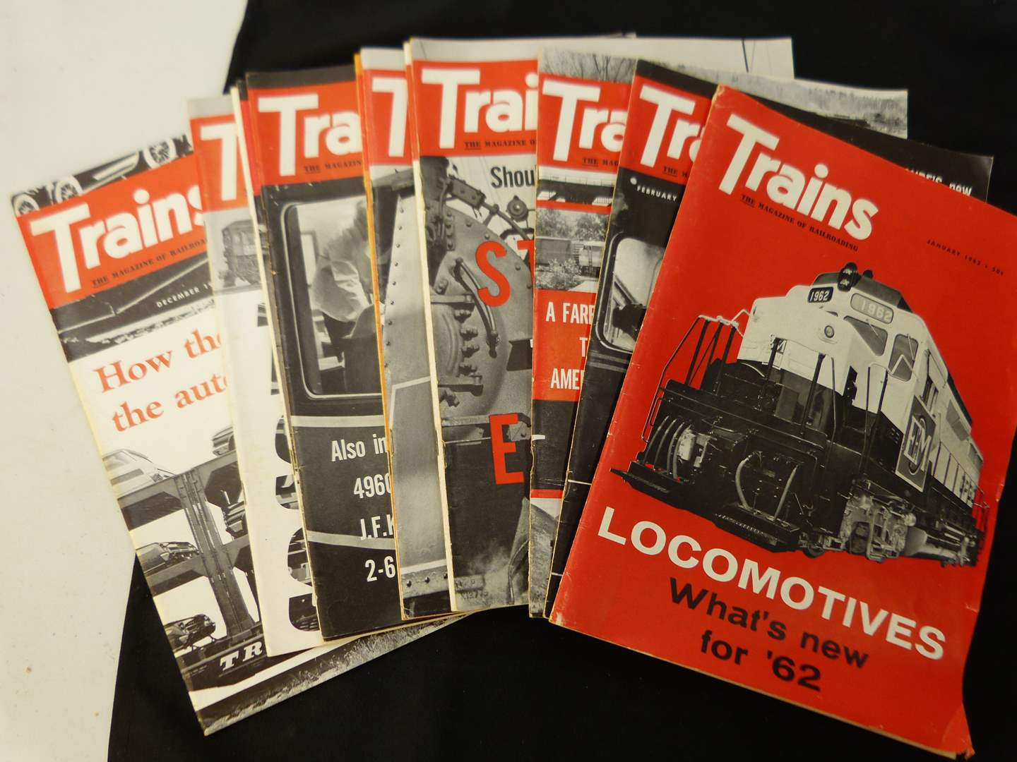 """Lot # 268  Trains """"The Magazine of Railroading"""" 1962 full year (magazines are complete-great advertising & stories)"""
