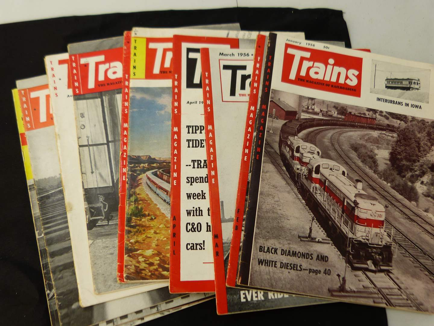 """Lot # 271  Trains """"The Magazine of Railroading"""" 1956 full year (magazines are complete-great advertising & stories)"""
