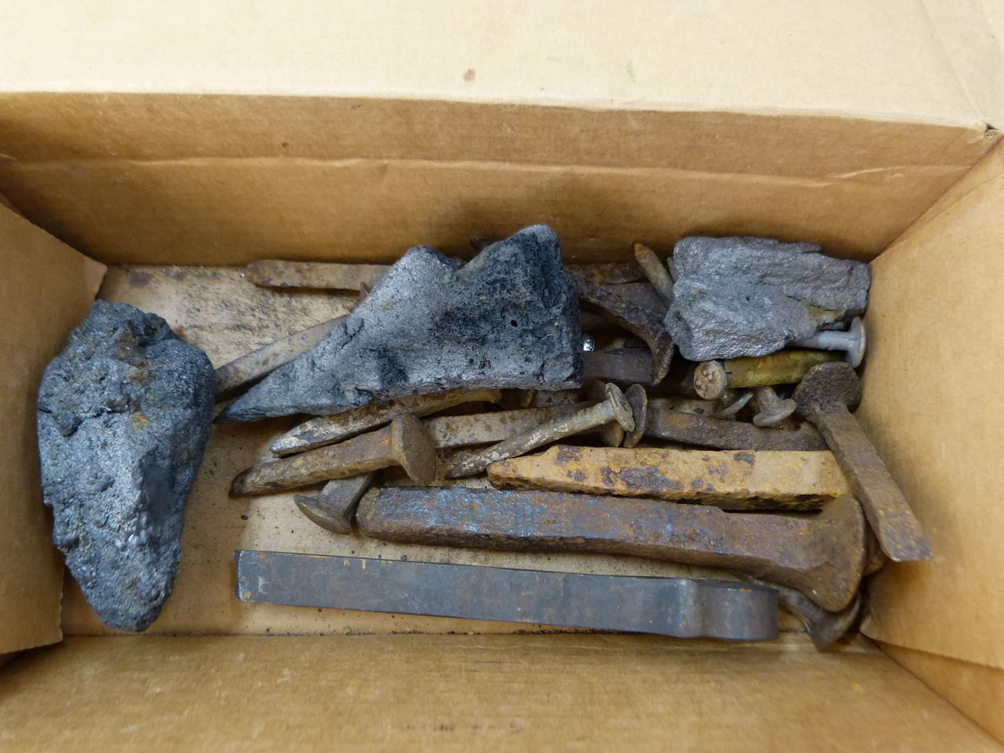 Lot # 280  Nice lot of real coal used to power trains and railroad spikes & nails