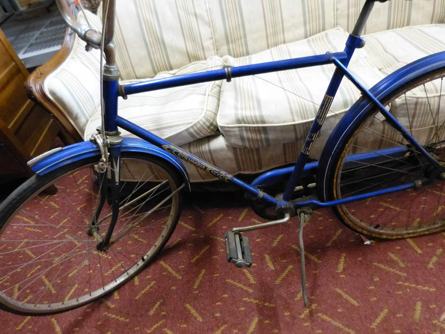 Lot # 295  Vintage Colombia Roadster bicycle (does't look pretty but HIGHLY collectible)