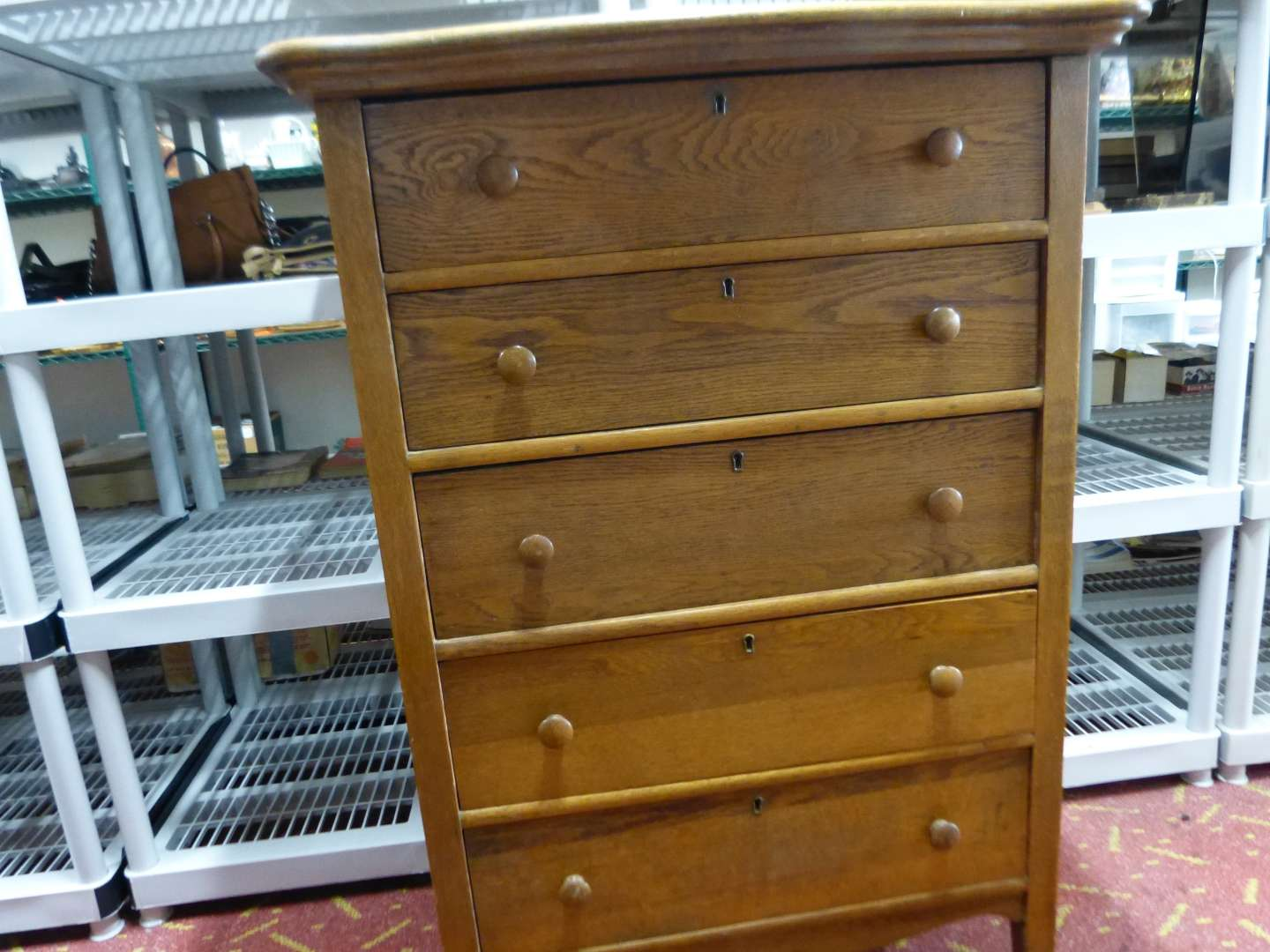 Lot # 15  Antique solid oak 5 drawer chest in fantastic condition