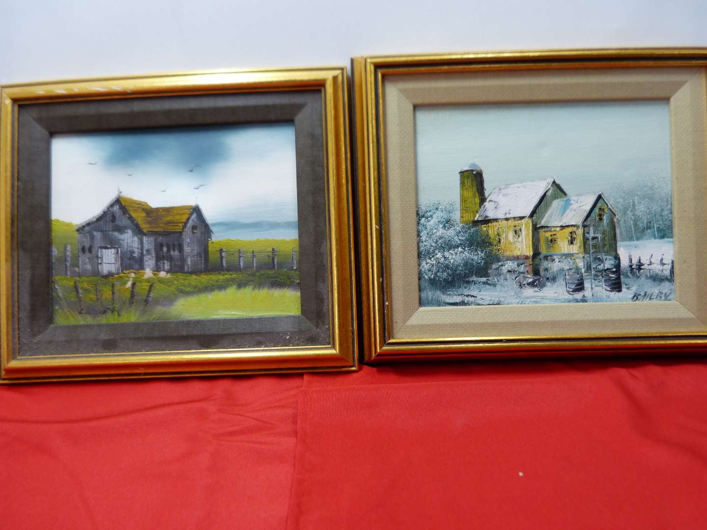 Lot # 144  2 small farm & winter scenes hand painted on canvas pictures (main image)