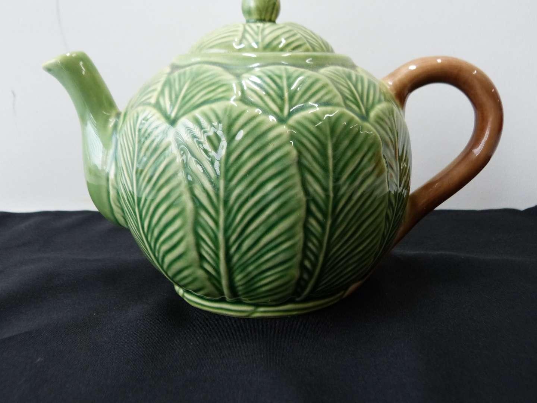 Lot # 57  Portugal (majolica style) ceramic tea pot (perfect condition)