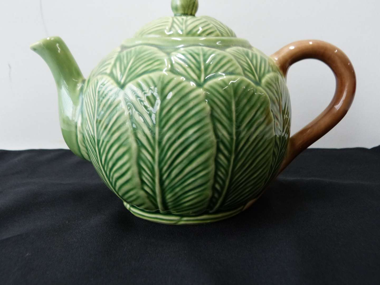 Lot # 57  Portugal (majolica style) ceramic tea pot (perfect condition) (main image)