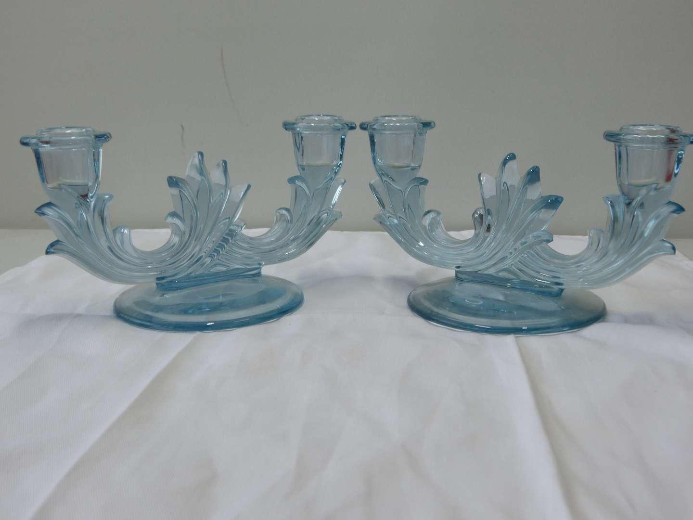 Lot # 64  RARE Azure Blue Pair Fostoria Baroque Flame Candle Holders