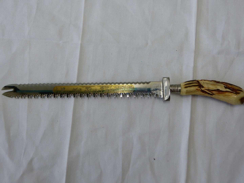 Lot # 75 Anton Wingen Jr Solingen carved stag horn double sided knife (VERY sharp)