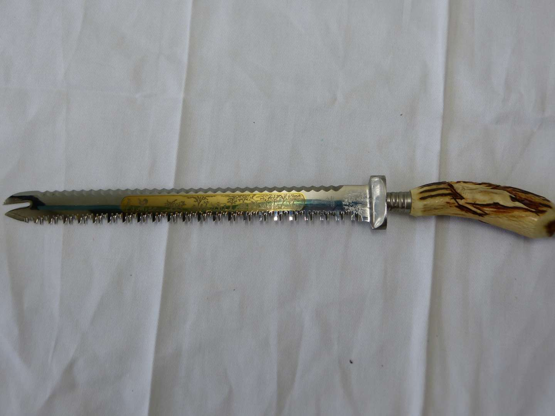 Lot # 75 Anton Wingen Jr Solingen carved stag horn double sided knife (VERY sharp) (main image)