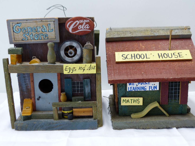 Lot # 78  2 wood bird houses general store & school