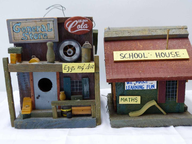 Lot # 78  2 wood bird houses general store & school (main image)