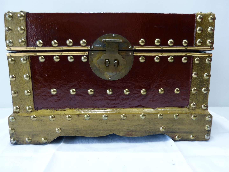 Lot # 79  Wood & brass trim large trinket box (main image)