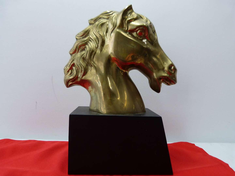 Lot # 81  Heavy brass horse head on wood block (door stop/paperweight?) (main image)