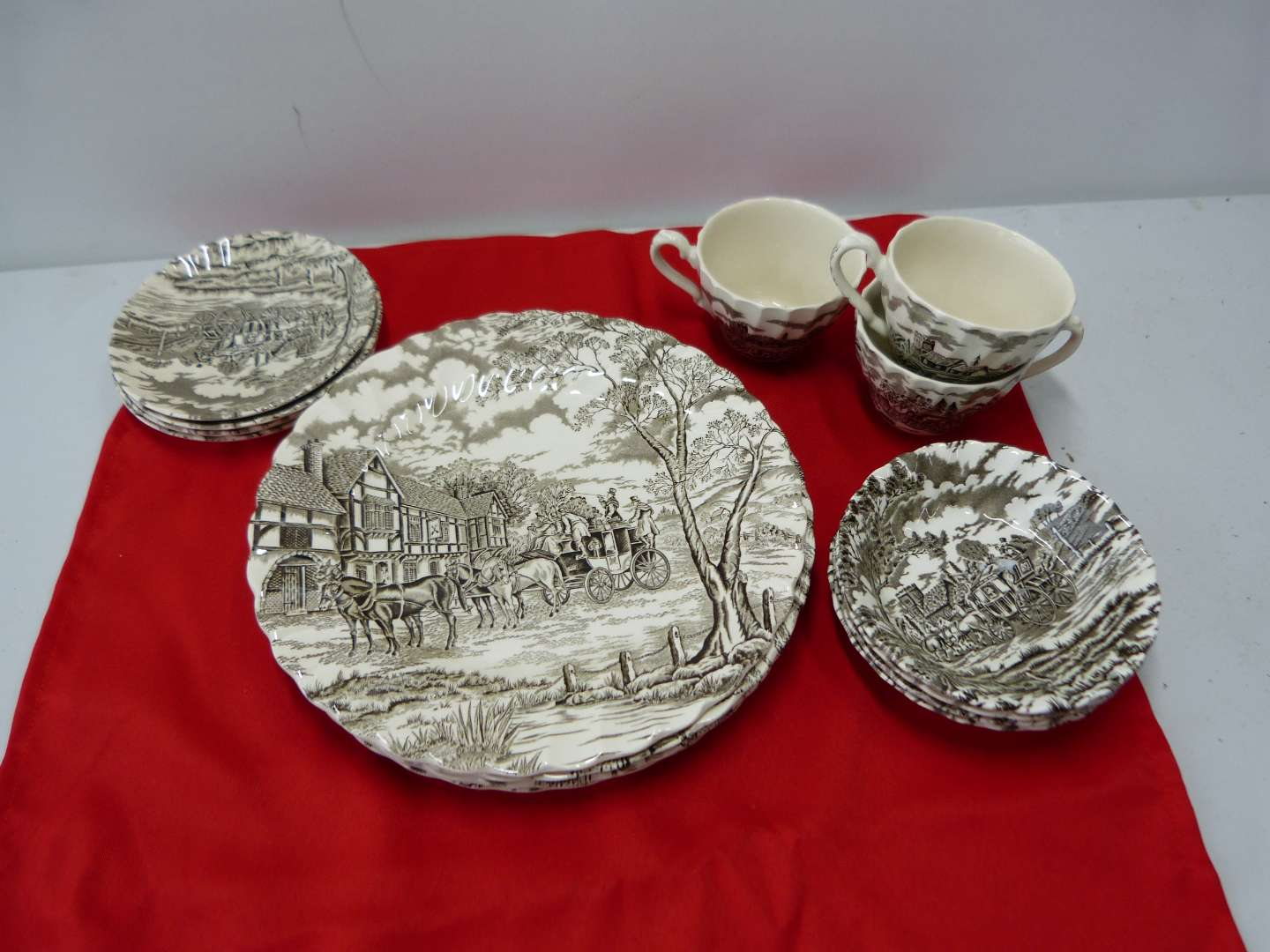 Lot # 82  Great collection of vintage country scene Royal Mail Staffordshire England dishes (shows crazing) (main image)