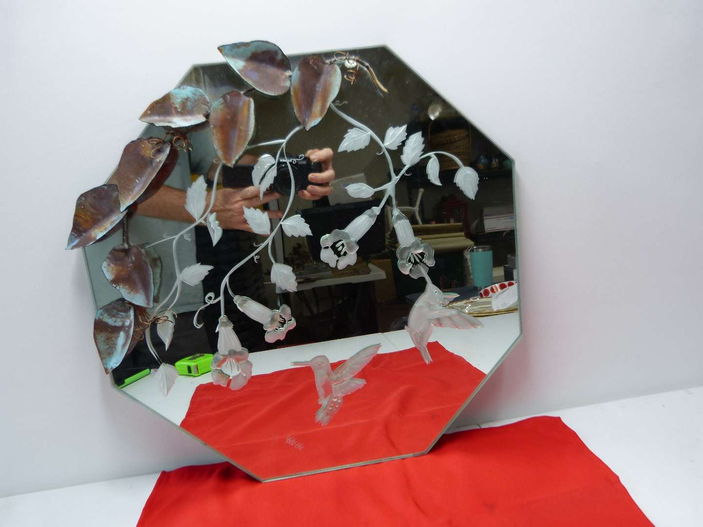 Lot # 83  Great etched octagon mirror with cold painted copper flower accents SIGNED  (main image)