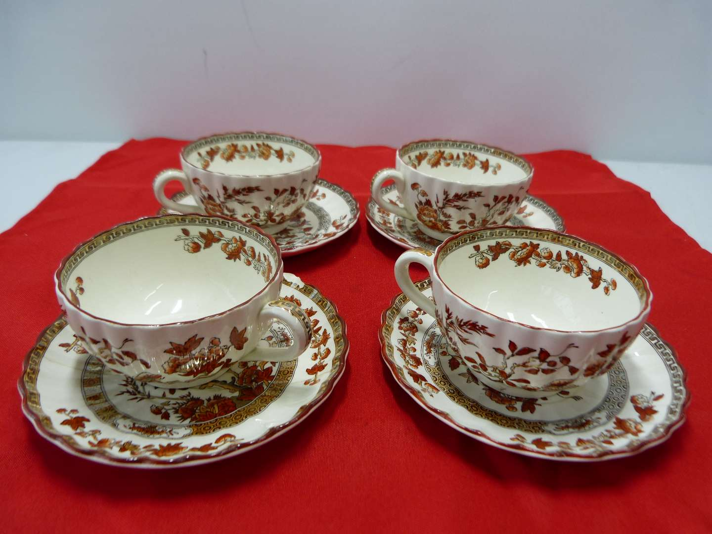"""Lot # 84  Copeland Spode collection cups saucers in the """"India Tree) pattern (one saucer repaired)"""