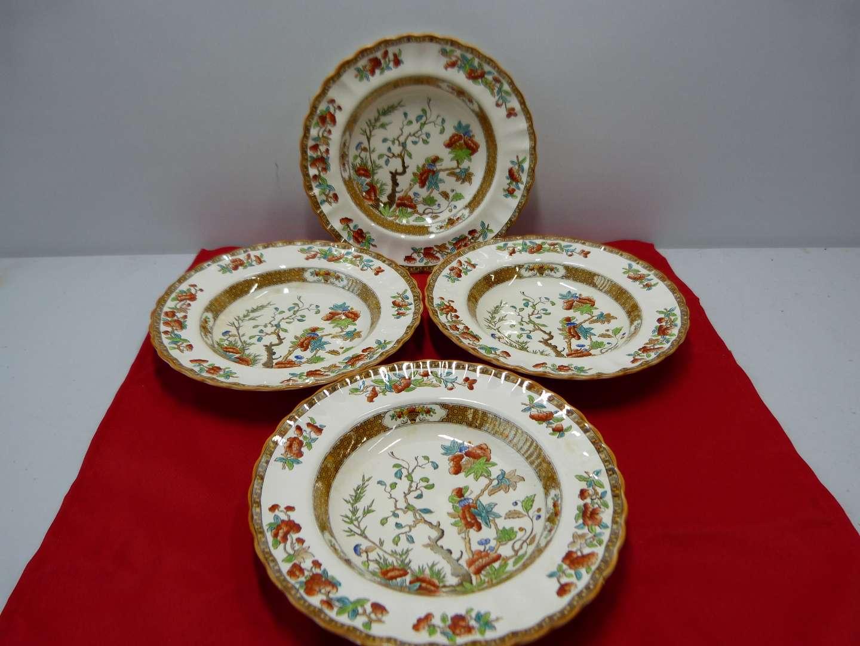Lot # 85  Copeland Spode England India Tree 4 large soup bowls