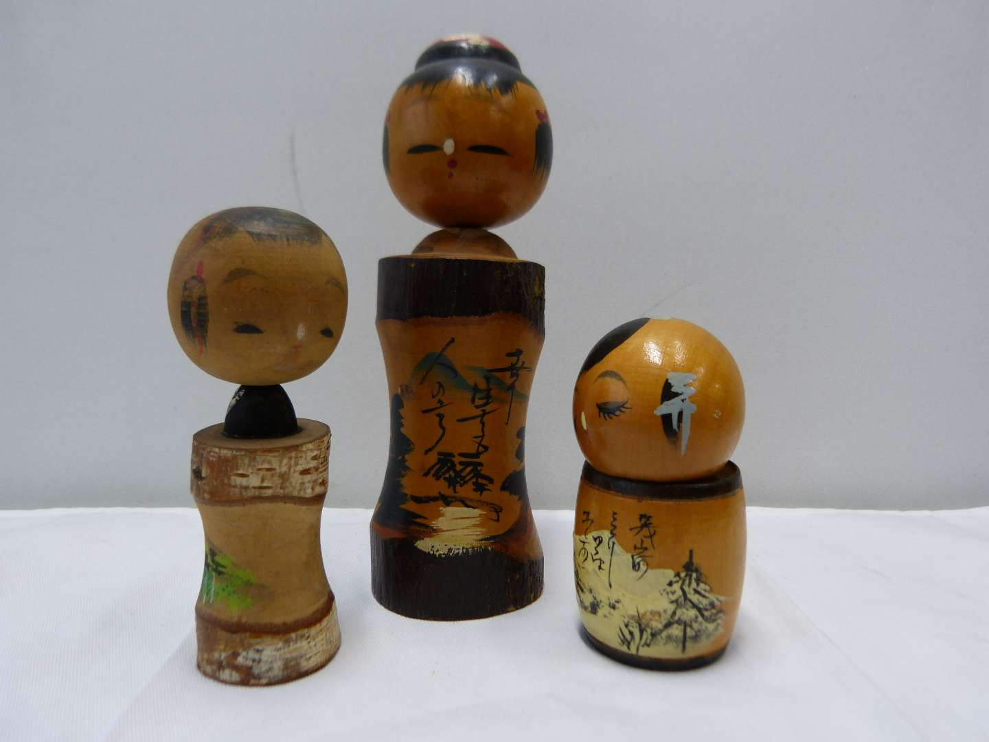 Lot # 87  Collection of Japanese wood SIGNED Kokeshi dolls