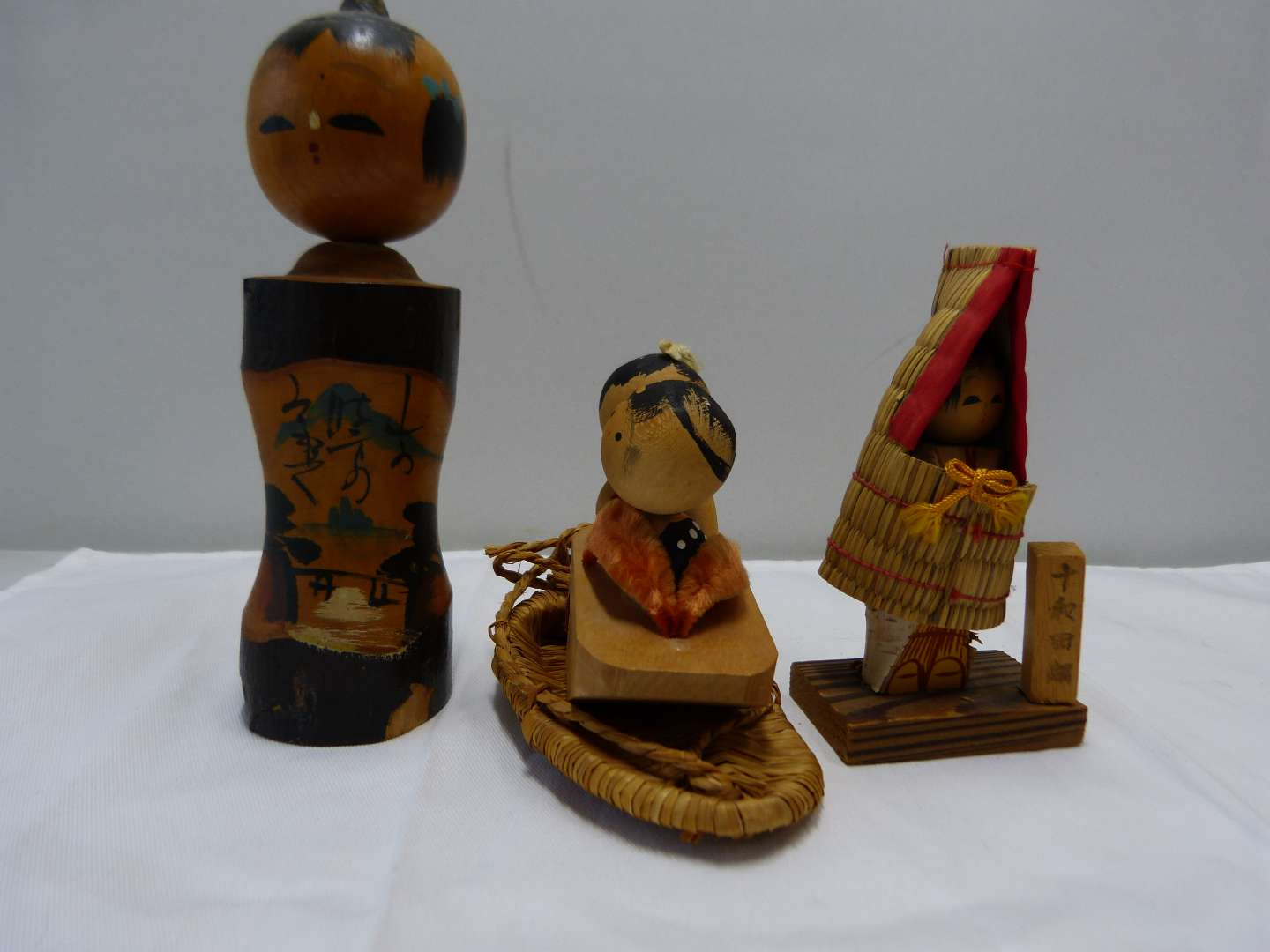 Lot # 88  Collection of Japanese wood SIGNED Kokeshi dolls