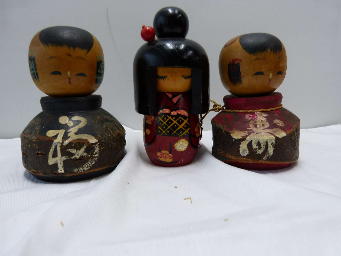 Lot # 89  Collection of Japanese wood SIGNED Kokeshi dolls