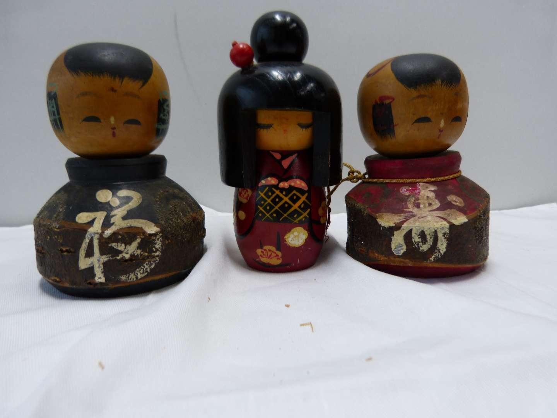 Lot # 89  Collection of Japanese wood SIGNED Kokeshi dolls (main image)