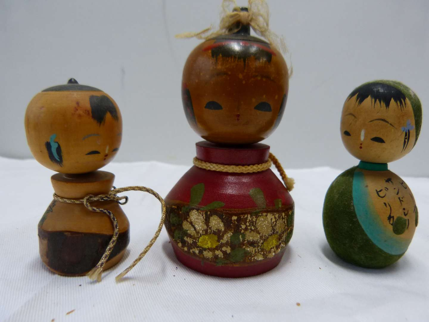 Lot # 90  Collection of Japanese wood SIGNED Kokeshi dolls