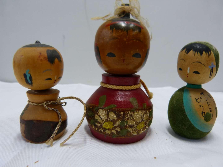 Lot # 90  Collection of Japanese wood SIGNED Kokeshi dolls (main image)