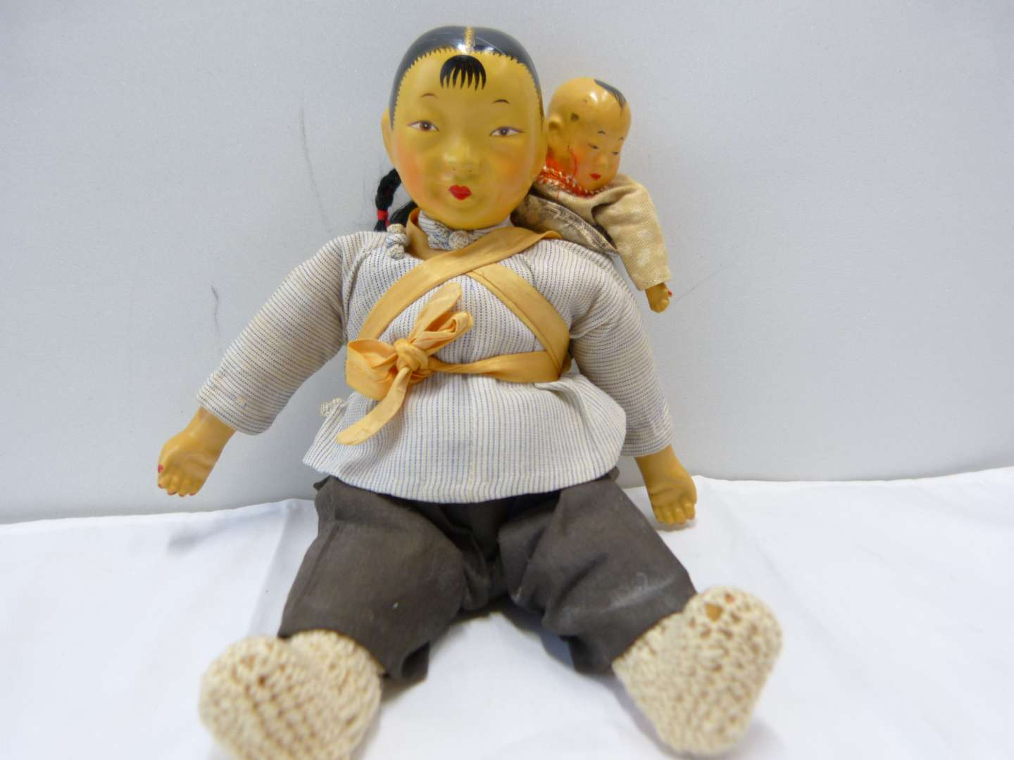 Lot # 91  Vintage Oriental composition doll(s) mother w/ baby great clothing AMAZING condition