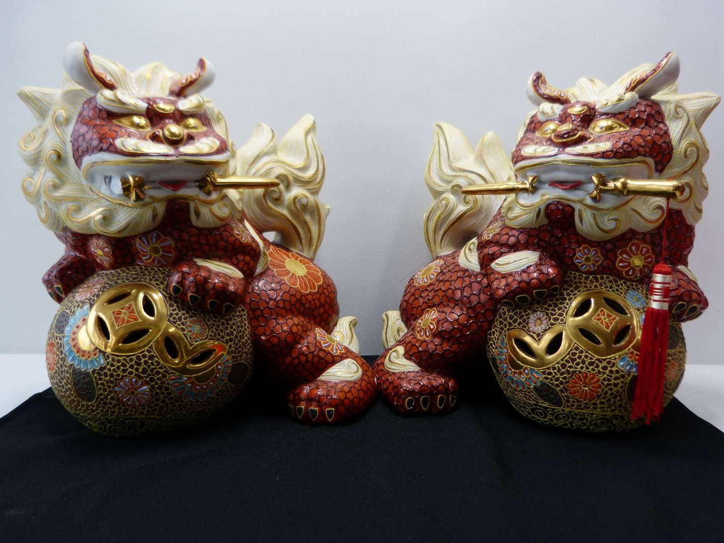 Lot # 93  WOW Pair Japanese Red Lion Foo Dogs (HIGHLY collectible) (main image)