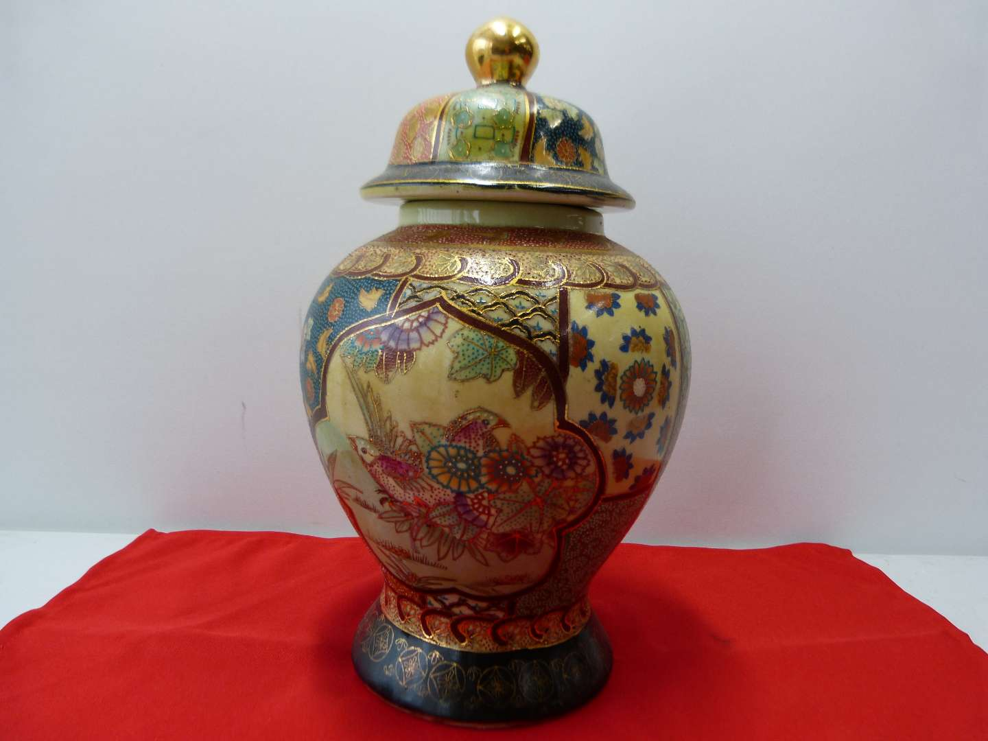 """Lot # 97  Large Made in China 12"""" ginger jar (AMAZING colors) hand painted (main image)"""