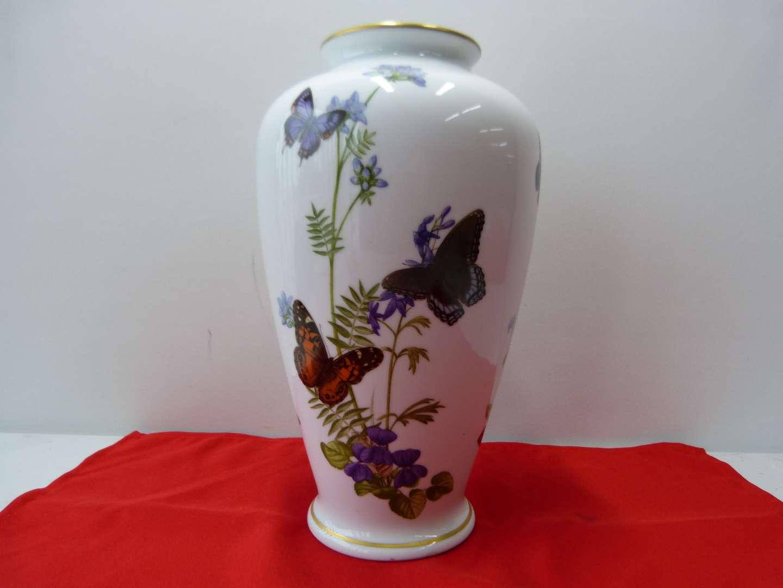 Lot # 98  Beautiful John Wilkinson Hand painted Butterfly vase (Franklin Mint)